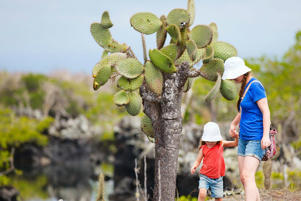 Family at Galapagos Islands' Lava Tubes (Courtesy Toursim Board).
