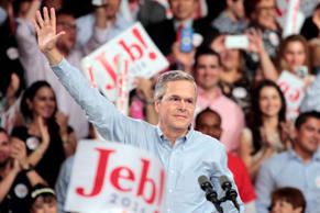 Republican U.S. presidential candidate and former Florida Governor Jeb Bush formally announces his campaign for the 2016 Republican presidential nomination during a kickoff rally in Miami, Florida June 15, 2015.