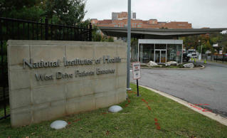 The patient's entrance at the National Institutes of Health is shown in Bethesda...