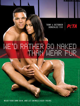 Slide 25 of 25: In this photo released Wednesday, Nov. 11, 2009, by The People for the Ethical Treatment of Animals, shows Atlanta Falcons' Tony Gonzalez and his wife October posing nude for an animal rights ad campaign.
