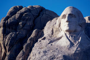 Face of George Washington on Mount Rushmore National Memorial, South Dakota.