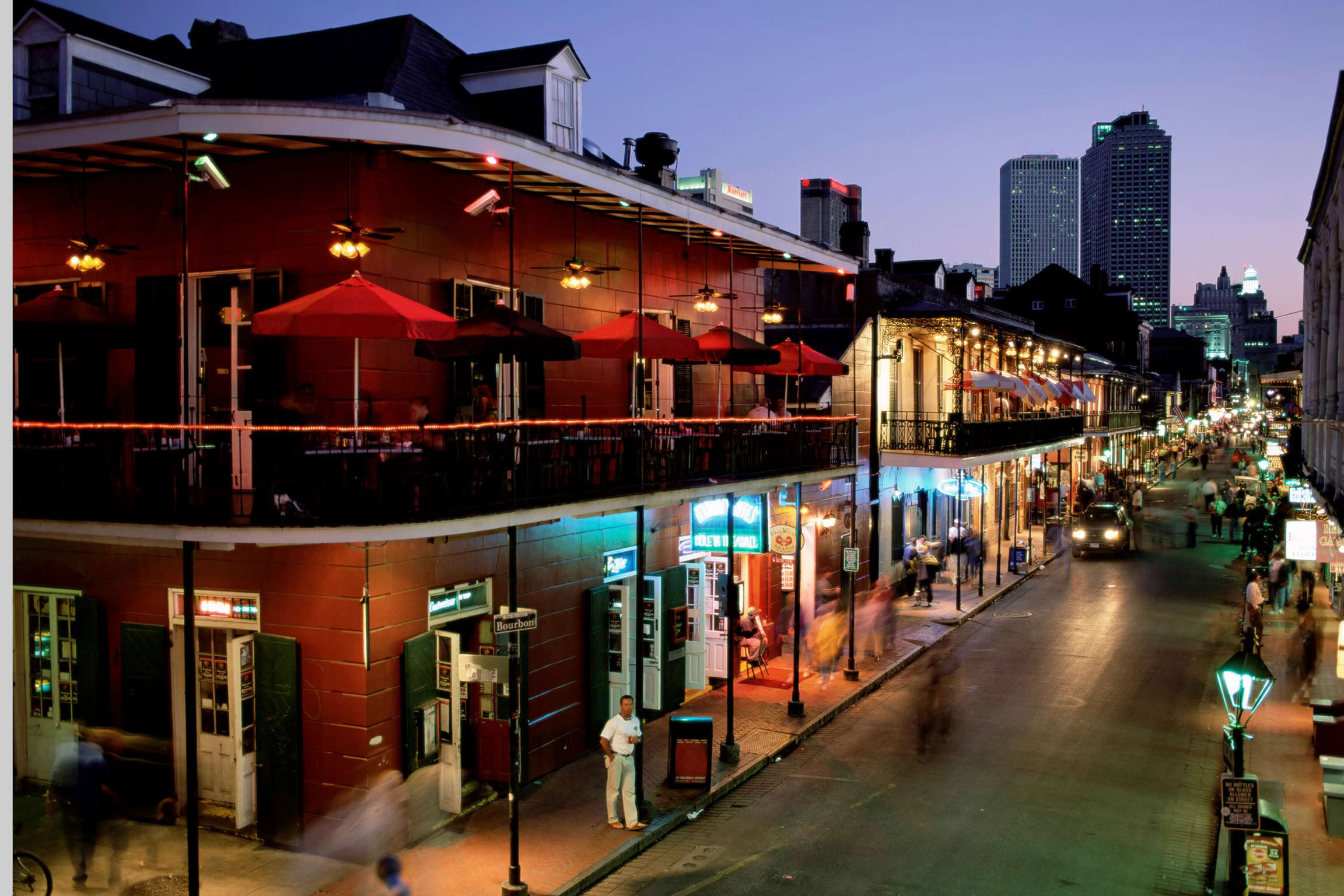 City skyline and Bourbon Street, New Orleans, Louisiana, United States