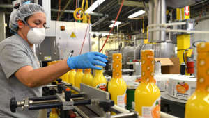 Employee Zulerma Perez checks labels at the Badia Spices Inc., factory in Doral, Florida