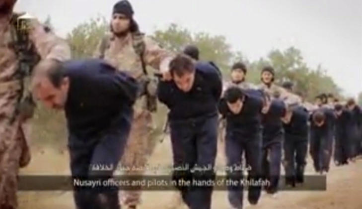 """A man bearing a resemblance to Nasser Muthana was part of a group of jihadist who beheaded 18 """"officers and pilots"""" of the Syrian regime in the video which announced the murder of Peter Kassig."""