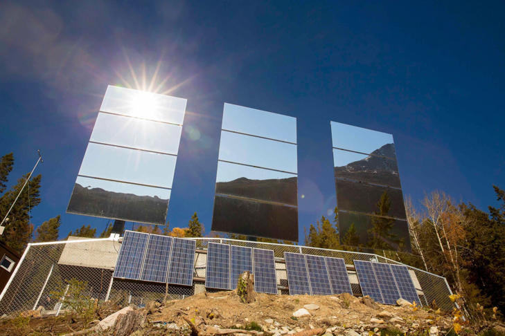 Giant mirrors erected on a mountainside reflect sunlight into the Norwegian industrial town of Rjukan.