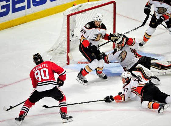 755eb85d8 Slide 76 of 76: Chicago Blackhawks center Antoine Vermette scores the game-winning  goal