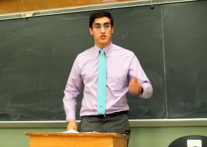 Feras Morad at a college debate in Los Angeles in 2014.